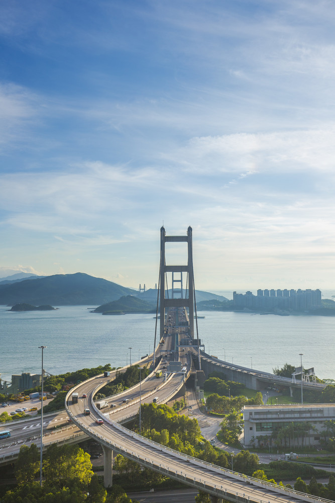 Tsing ma bridge Hong Kong landscape.
