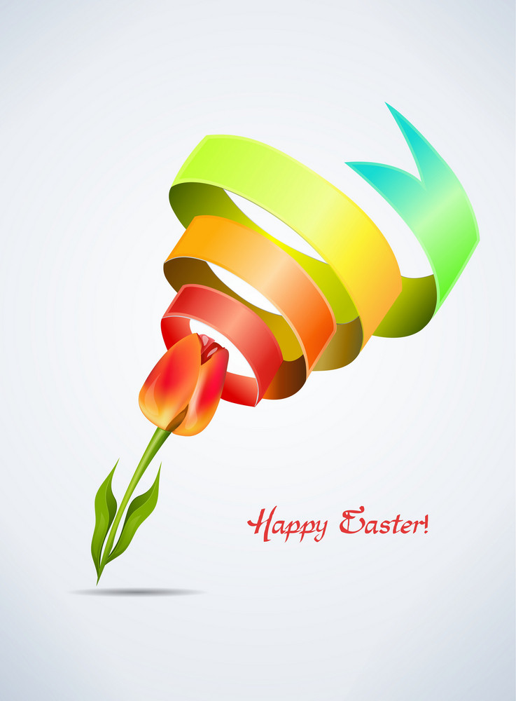 Tulip With Colorful Ribbon Vector Illustration