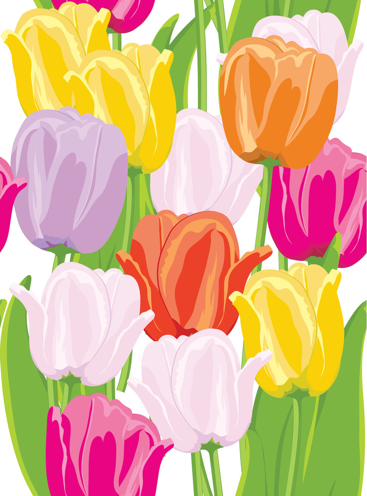 Tulips. Seamless Background.