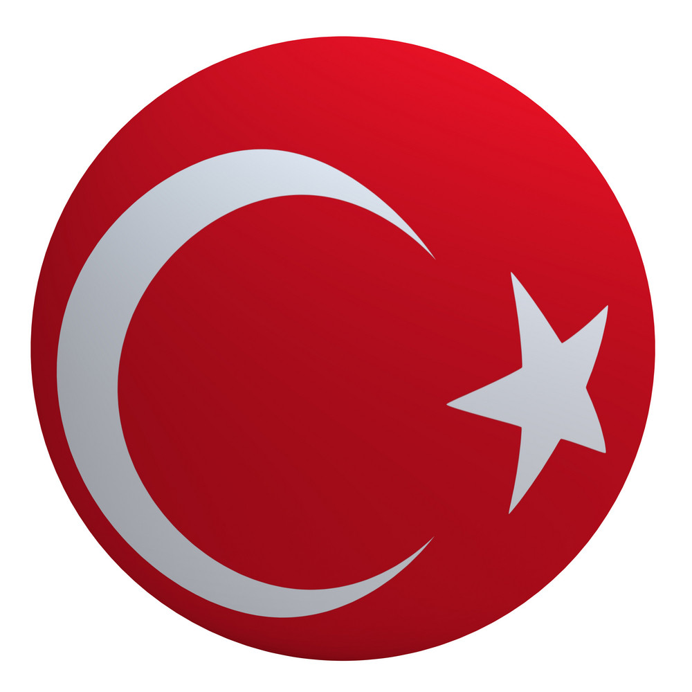 Turkey Flag On The Ball Isolated On White