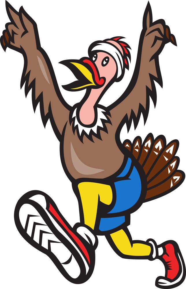 Turkey Run Runner Cartoon Isolated