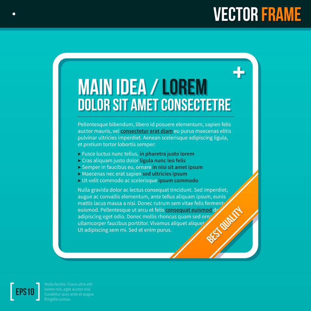 Modern Text Frame On Turquoise Background.