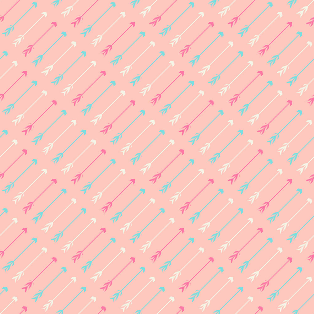 Turquoise And White Arrows Pattern On A Pink Background