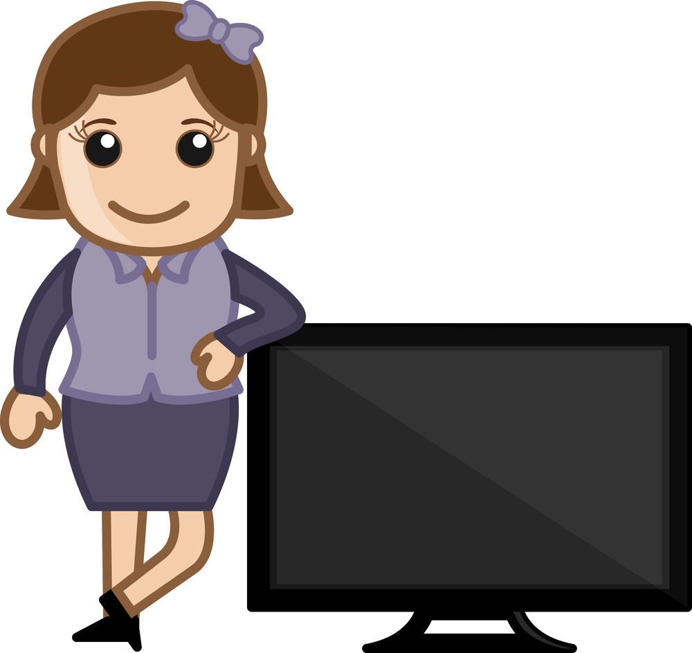 Tv Presenter - Vector Illustration