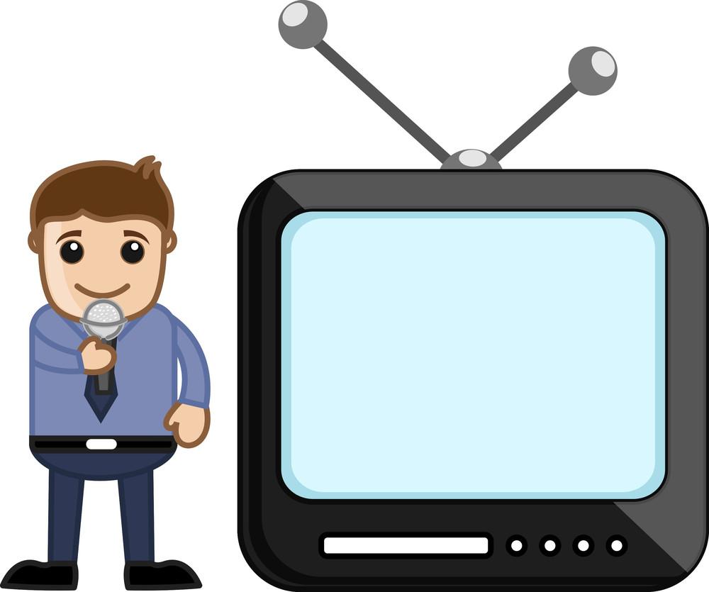 Tv Reporter - Office Character - Vector Illustration
