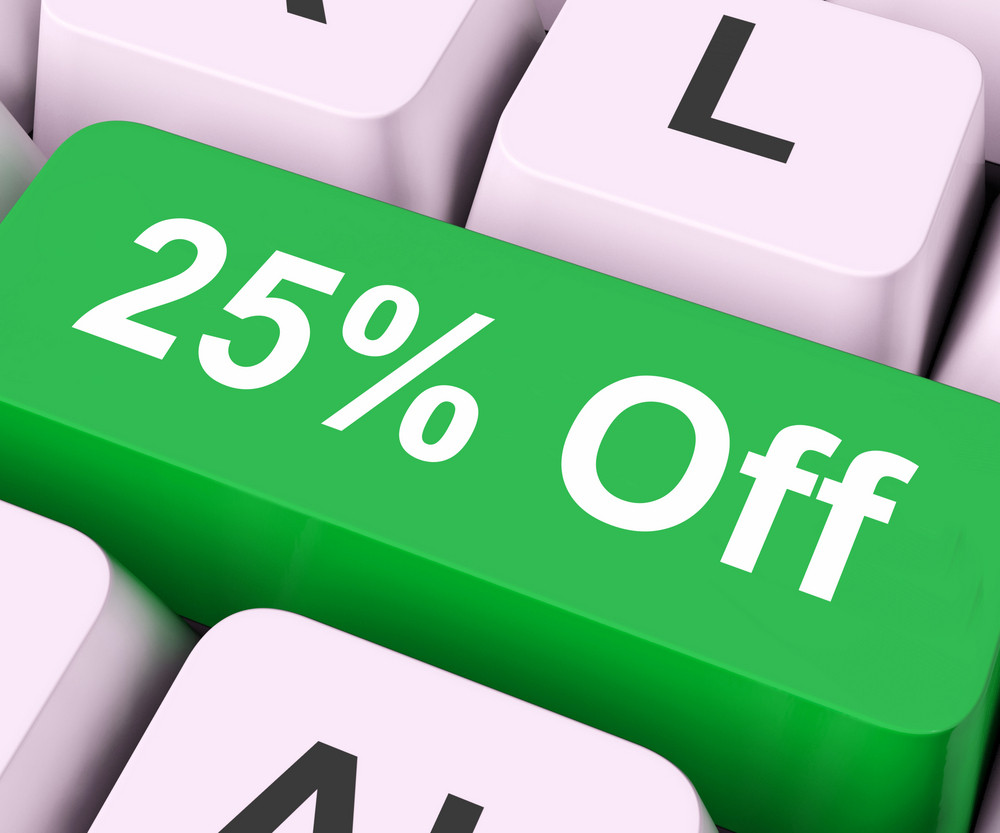 Twenty Five Percent Off Key Means Discount Or Sale