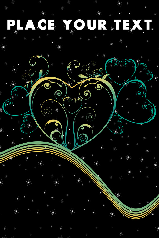 Twinkle Star Background With Floral Pattern Heart