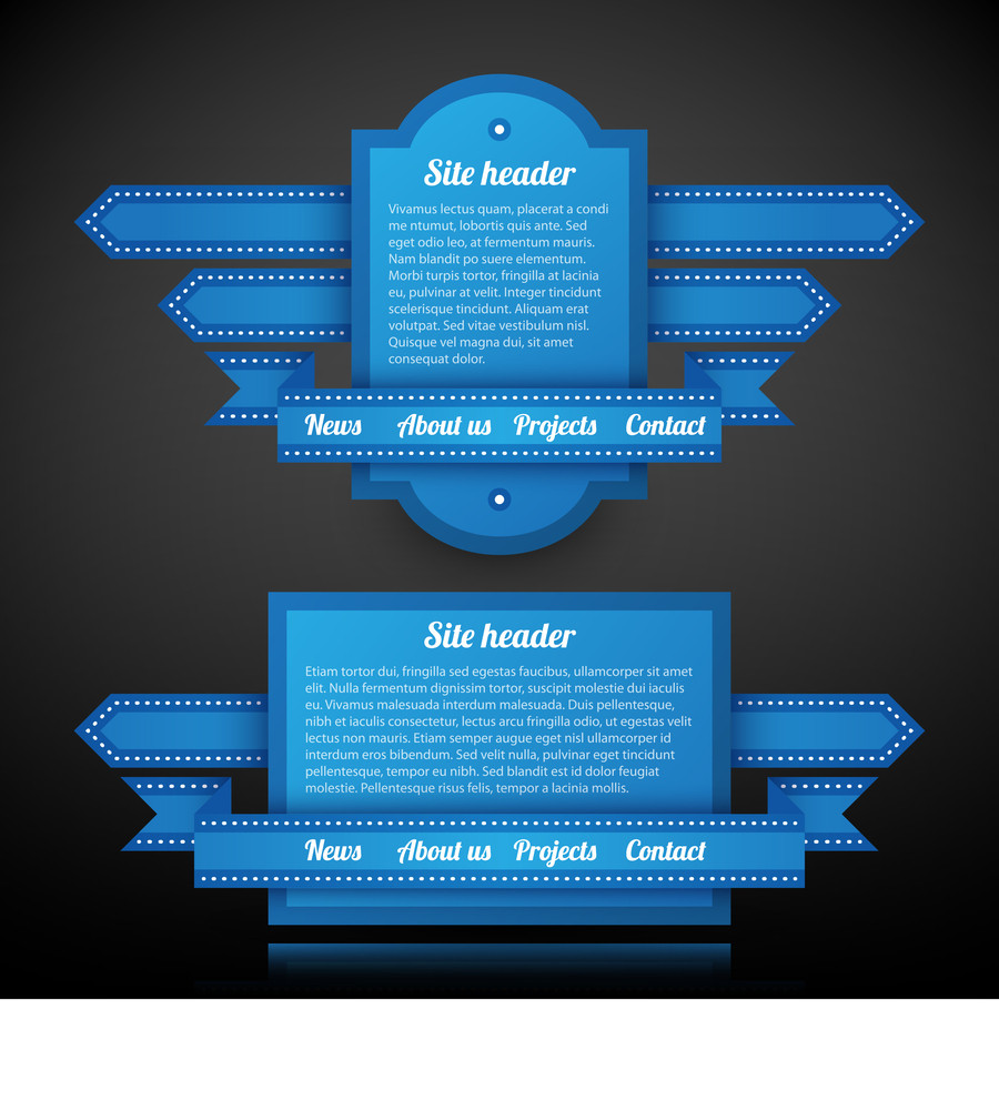 Two Blue Website Headers With Text And Menu.