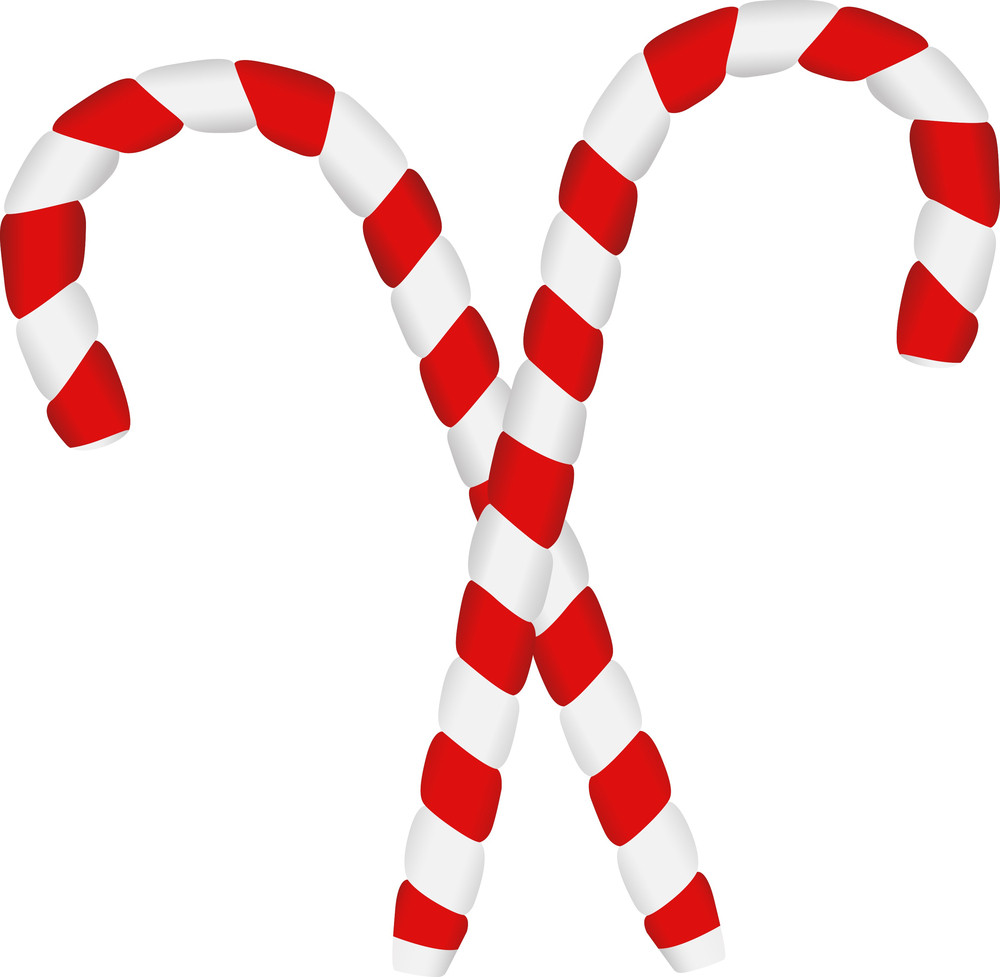 Two Candy Canes - Christmas Vector Illustration