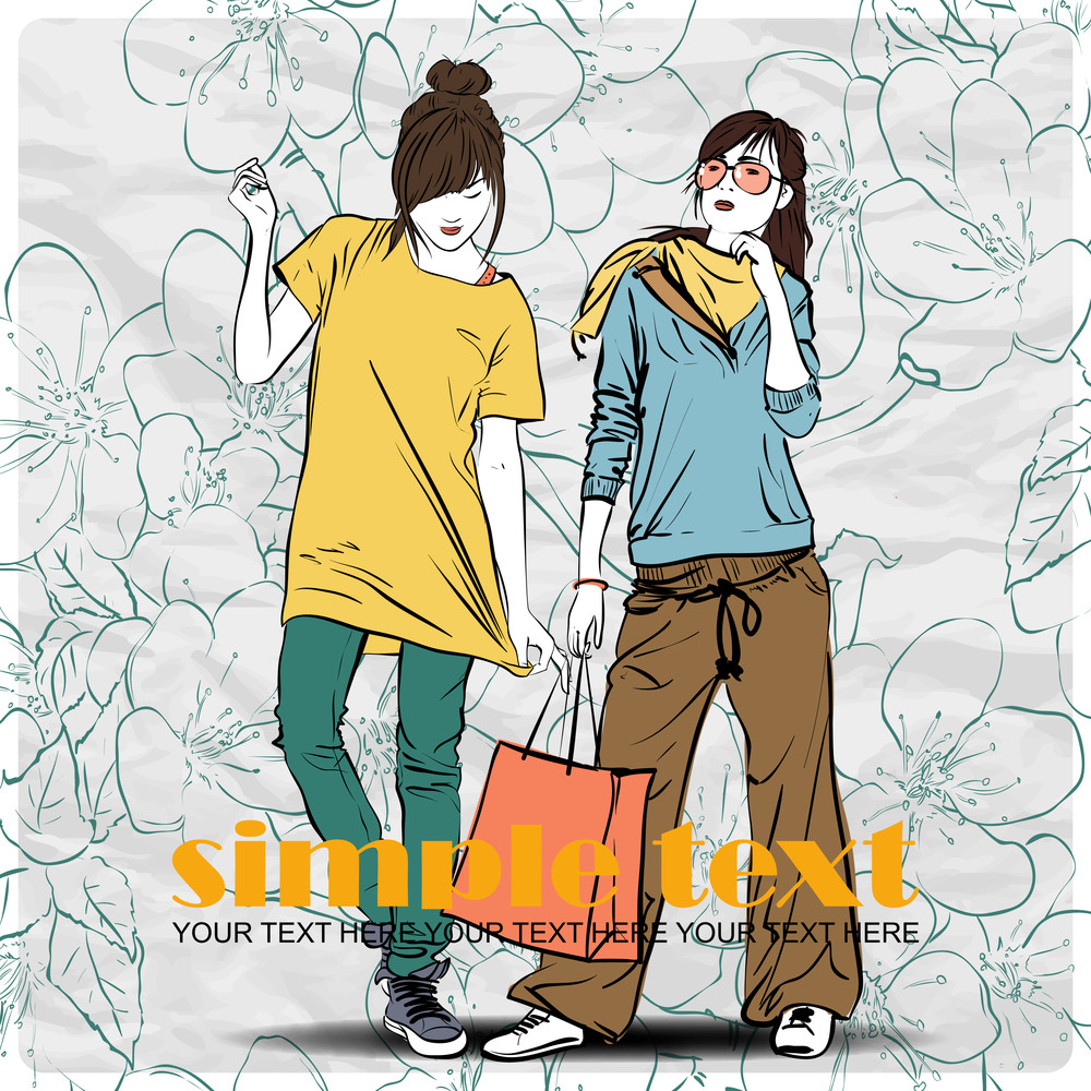 Two Fashion Girl In Sketch-style On A Floral Background .vector Illustration.