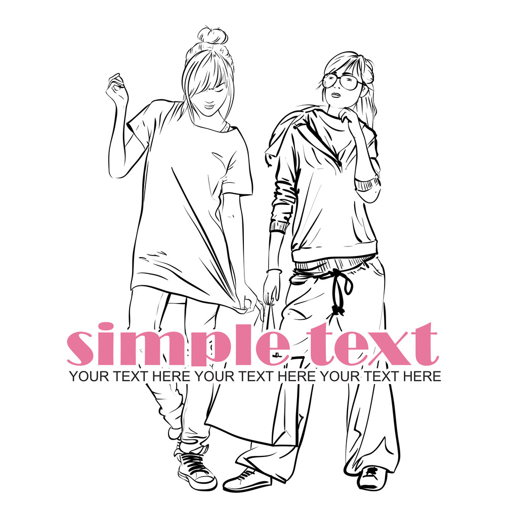 Two Fashion Girls. Vector Illustrator.