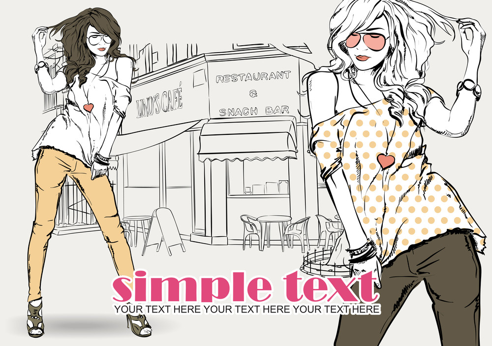 Two Fashion Girls With Beret In Sketch Style On A Street-cafe Background. Vector Illustrator.