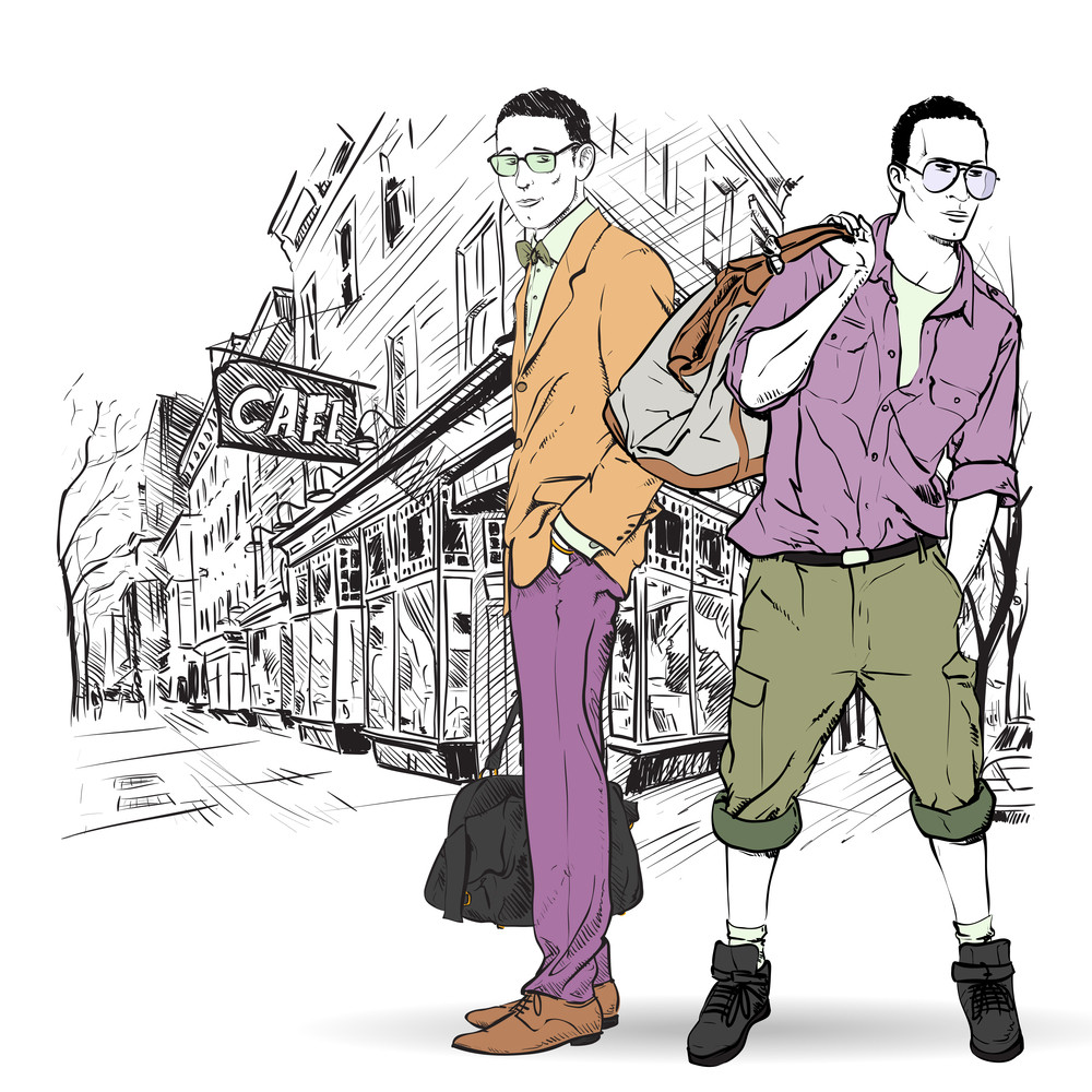Two Fashion Mens  In Sketch-style On A Street-cafe-background. Vector Illustration.