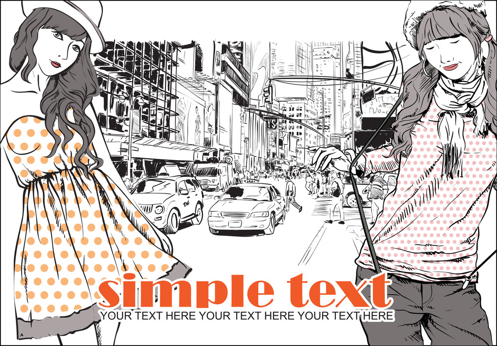 Two Girls In Sketch-style On A City-background. Vector Illustration.