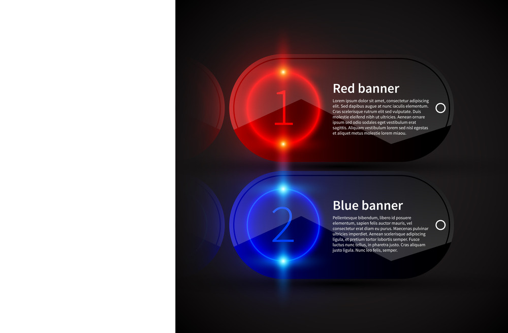 Two Glossy Banners With Glowing Numbers And Place For Text. Useful For Presentations Or Web Design.