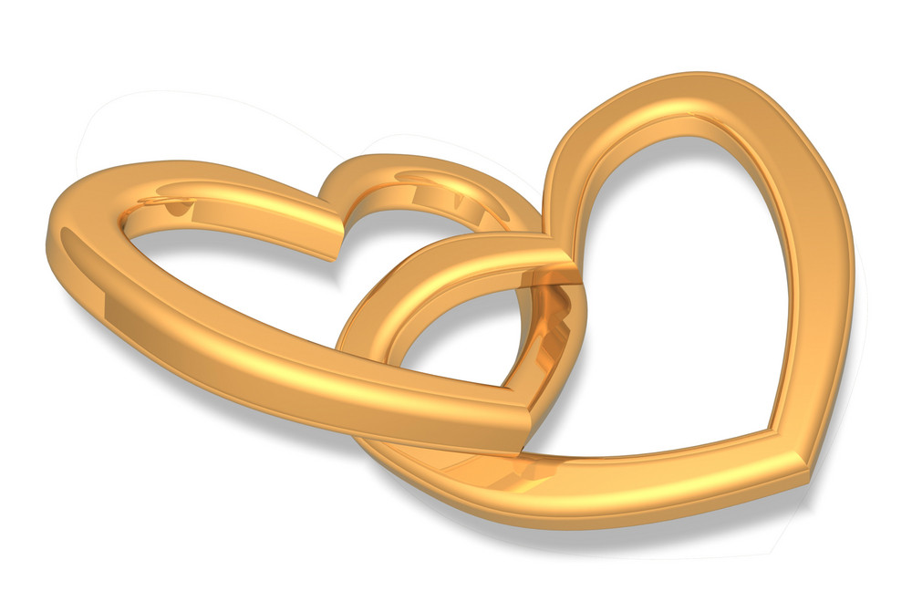 Two Gold Hearts Isolated On White.