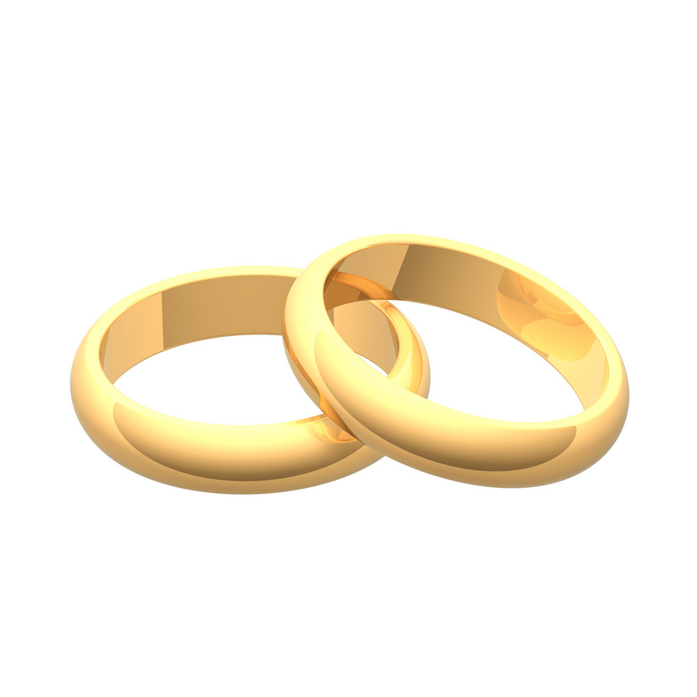 Two Gold Wedding Rings Isolated On White.