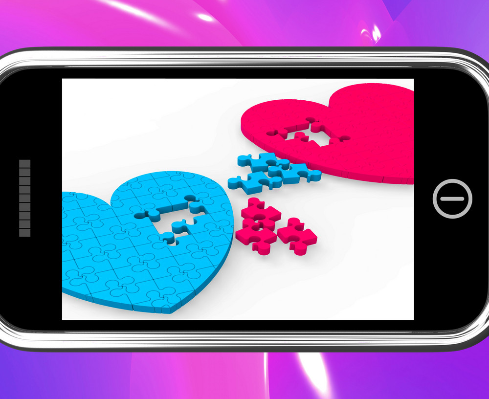 Two Hearts On Smartphone Showing Commitment
