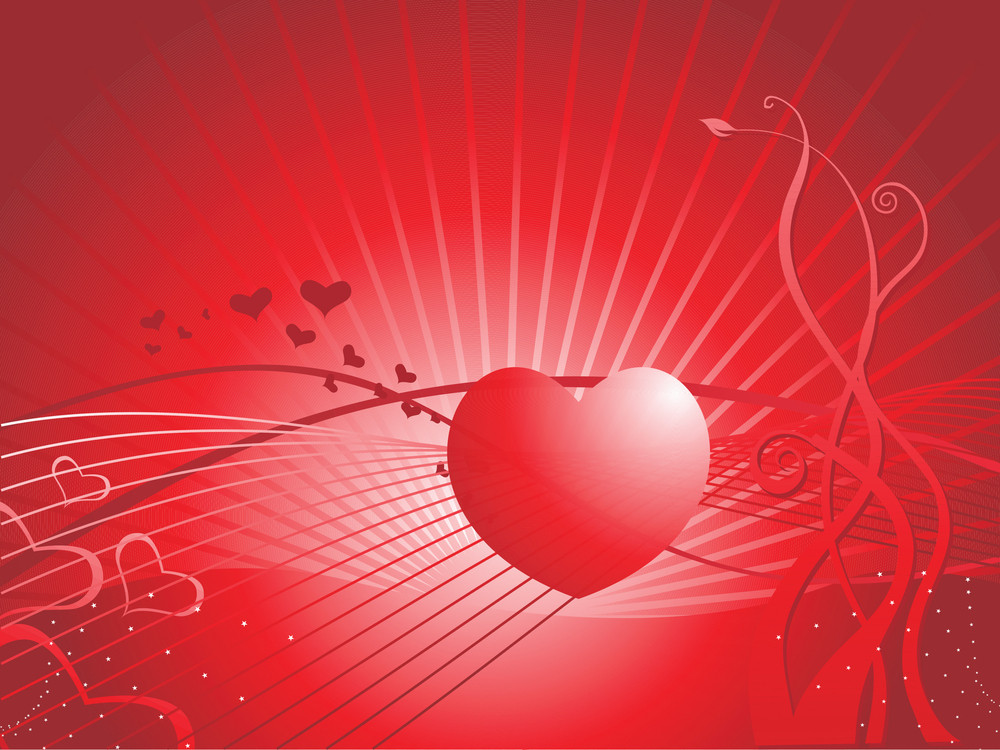 Two Hearts With White Fur On A Red Background, Wallpaper