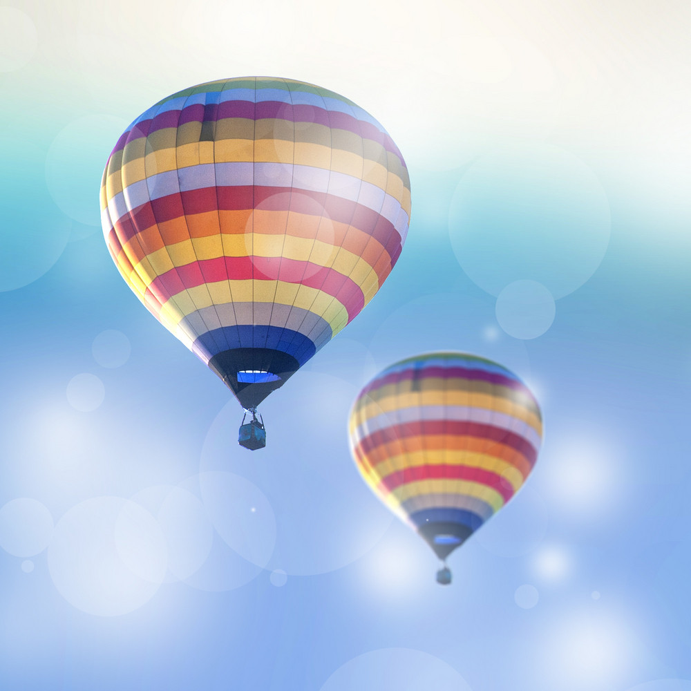 Two hot air balloon on Bokeh Background.