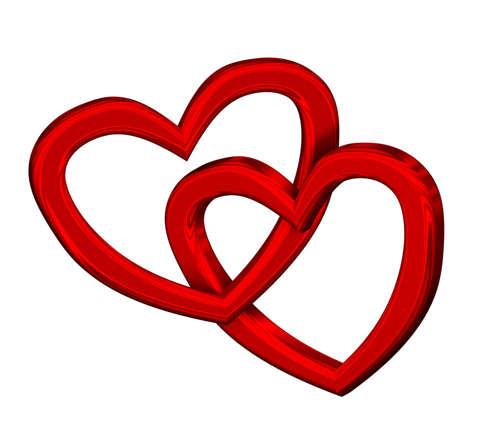 Two Joined Red Hearts On White Background