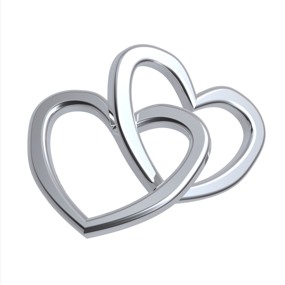 Two Joined Silver Hearts On White Background