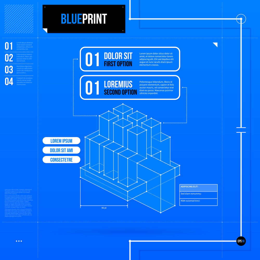 Two Numbered Options Layout In Blueprint Style With Abstract Isometric Object. Eps10