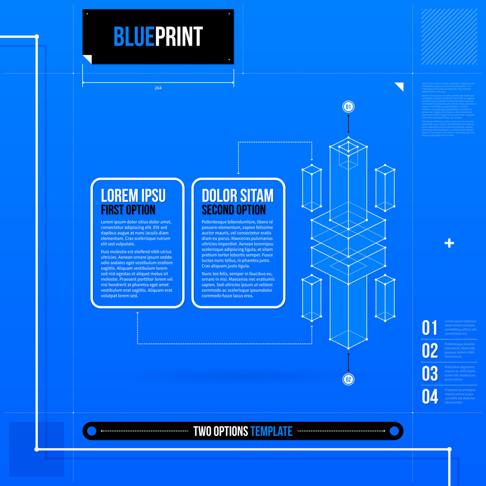 Two Options Template With Abstract 3d Element In Blueprint Style. Eps10