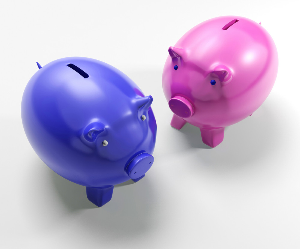 Two Pigs Shows Savings Banking And Money