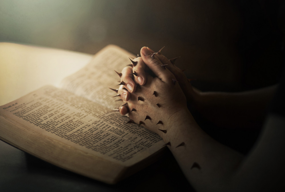 Two praying hands covered in thorns while resting on a Bible