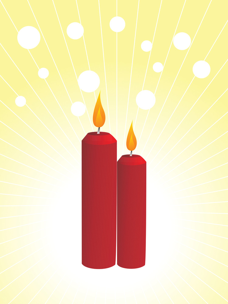 Two Red Candles And Snowflake