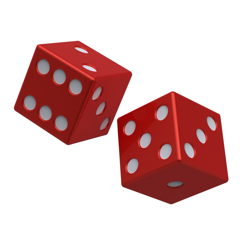 Two Red Dices Isolated On White.