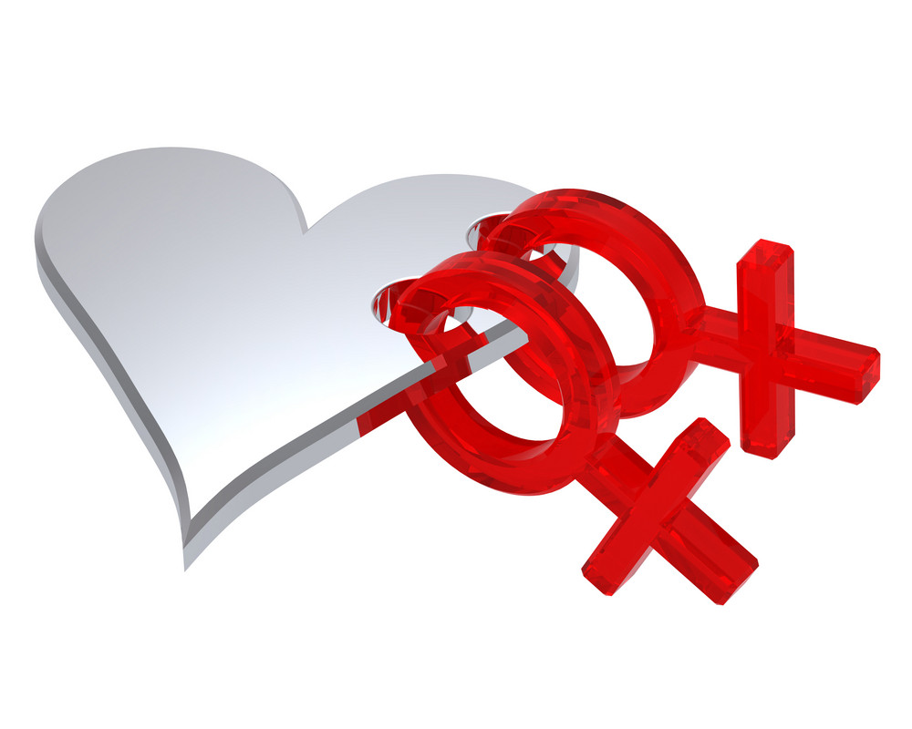 Two Red Female Sex Symbol With Heart.