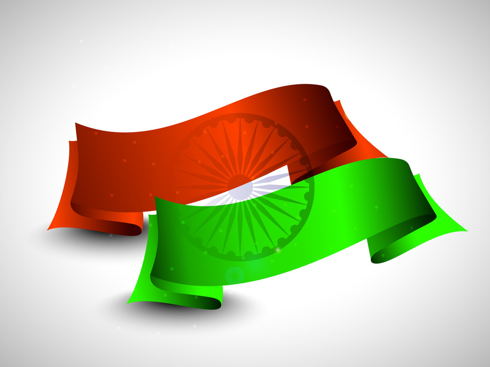 Two Ribbons In Orange And Green Color With Asoka Wheel On Grey