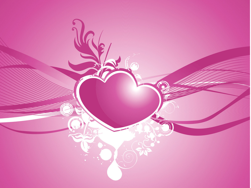 Two Romantic Heart With Waves Elements