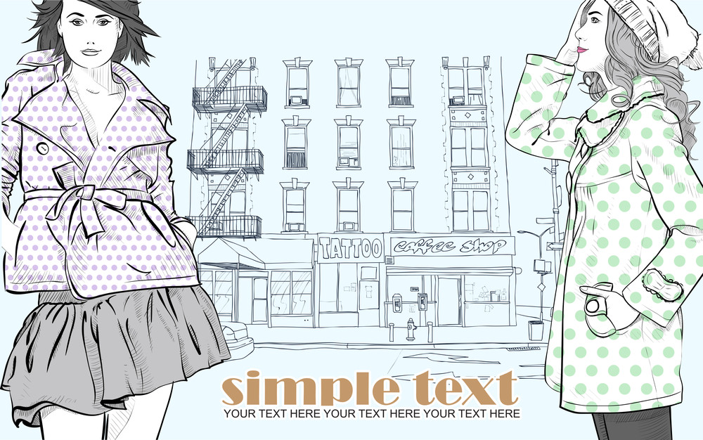 Two Sexy Girls In Sketch-style On A City-background. Vector Illustration
