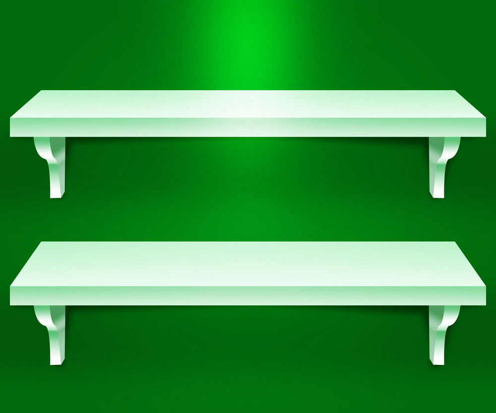 Two Shelves Green Background