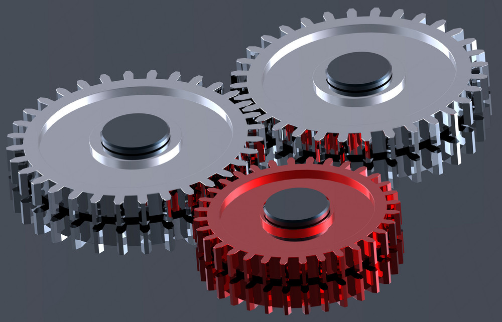 Two Steel Gears In Connection With Red One.
