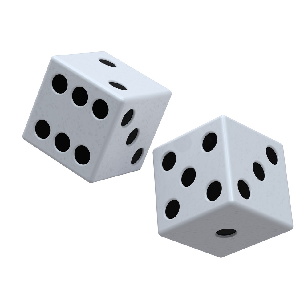 Two White Dices Isolated On White.