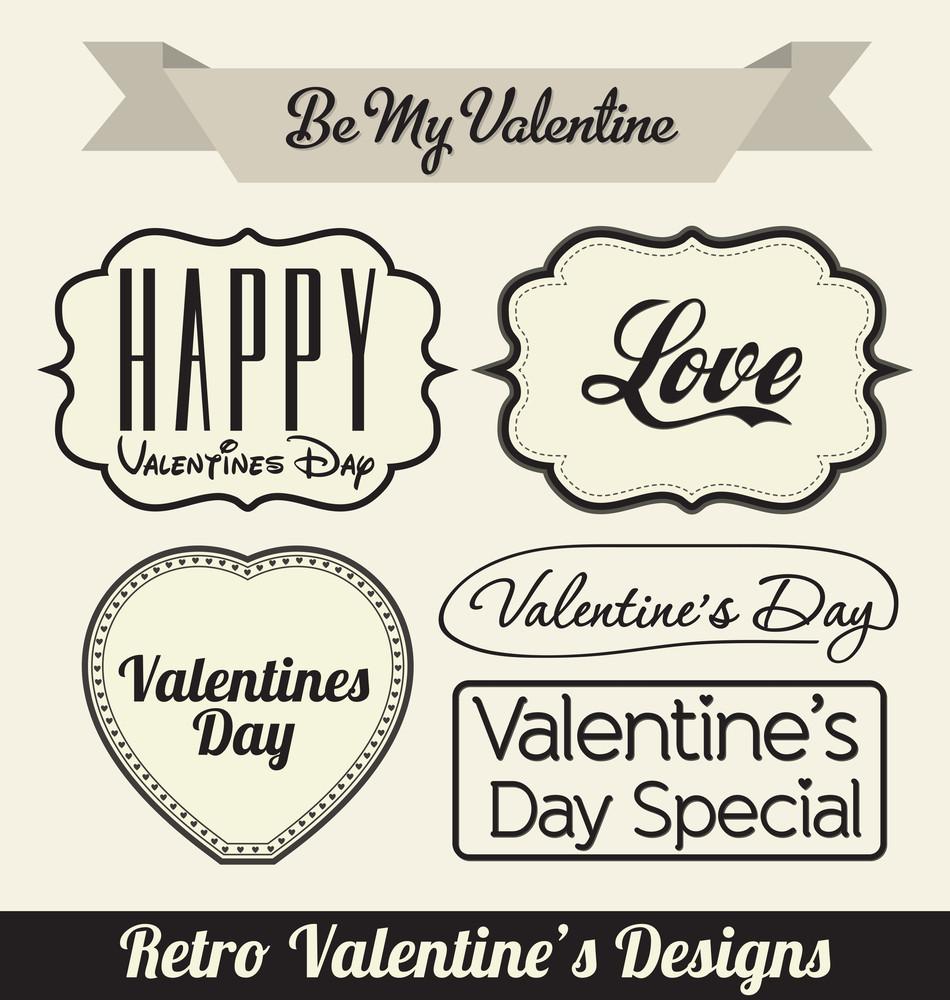 Typographic Retro Valentines Designs