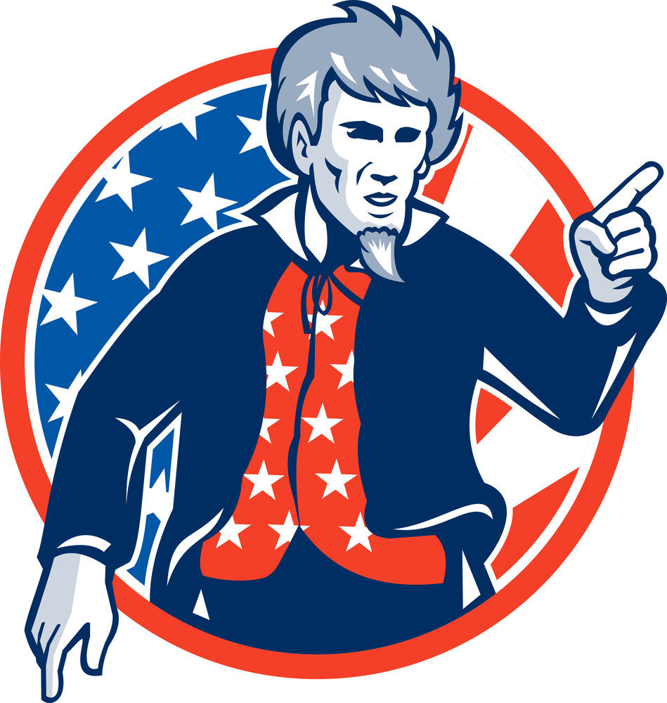 Uncle Sam American Pointing Finger Flag Retro