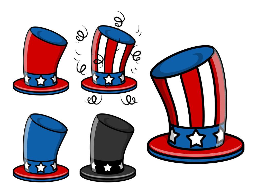 Uncle Sam Hat Set 4th Of July Vector Illustration