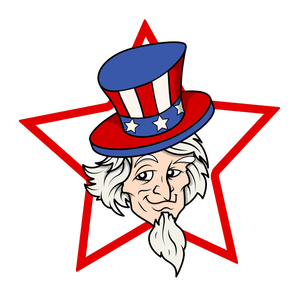 Uncle Sam Vector Face Over Star Shape