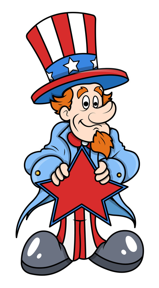 Uncle Sam Vector Holding A Star On 4th Of July