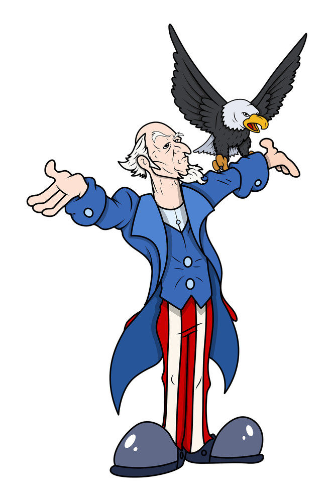 Uncle Sam With Eagle Vector Illustration