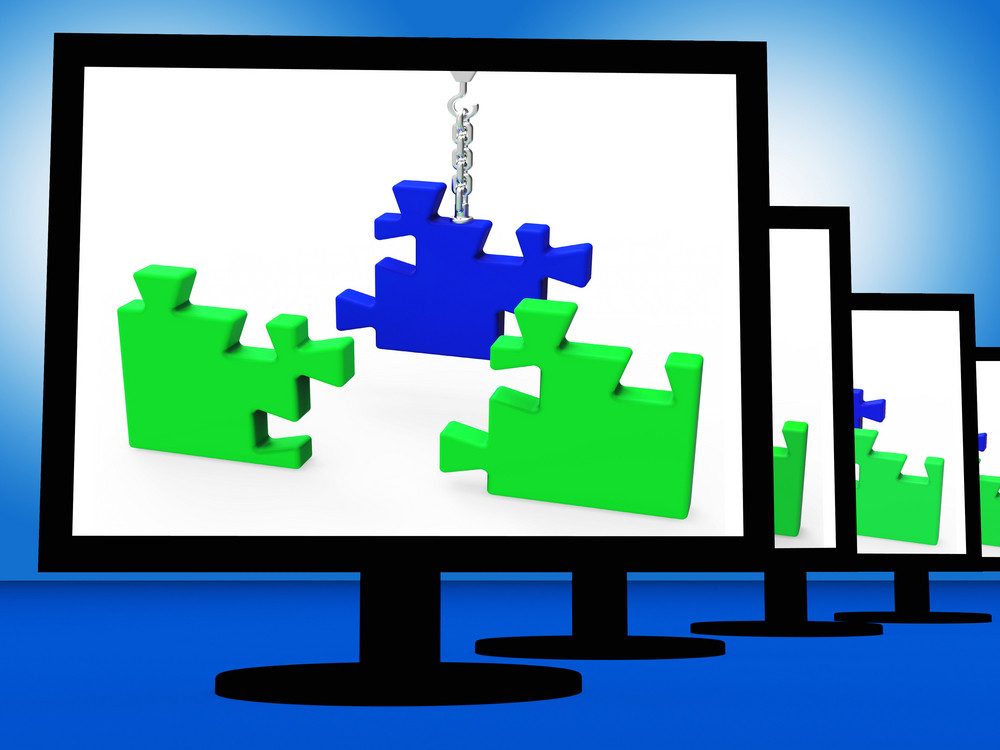 Unfinished Puzzle On Monitors Showing Strategy