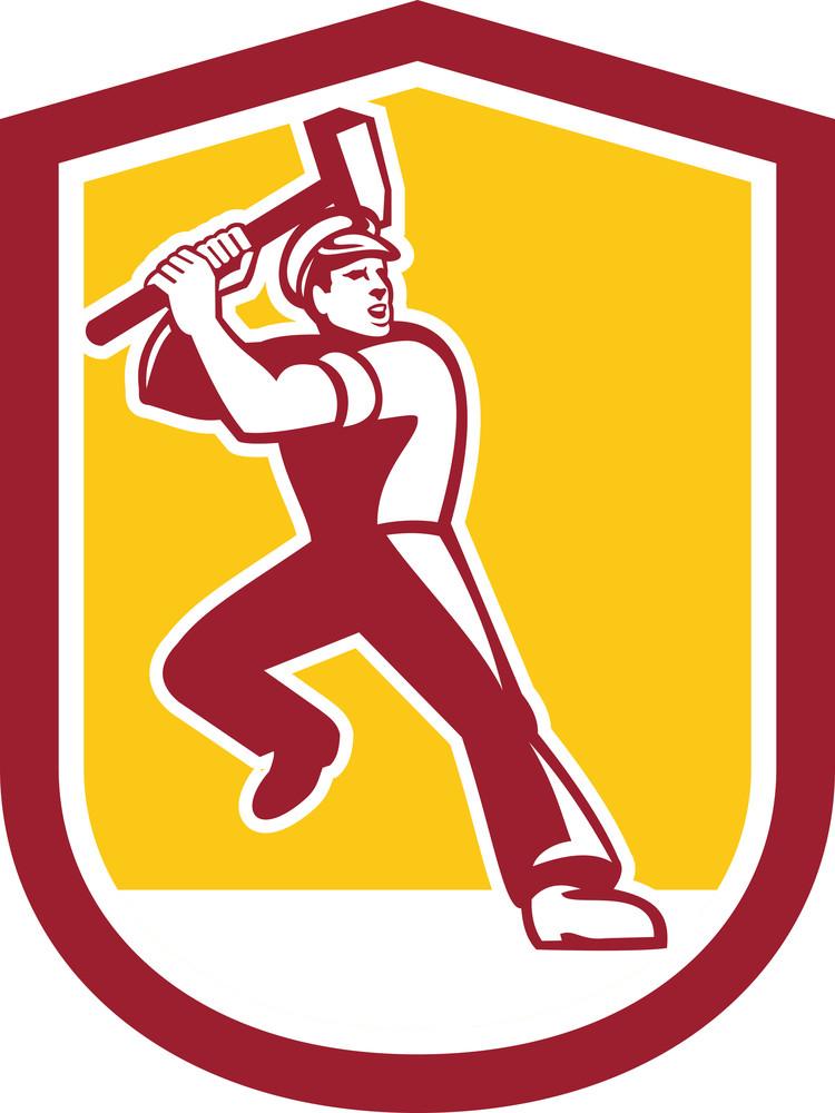 Union Worker Striking Sledgehammer Crest Retro