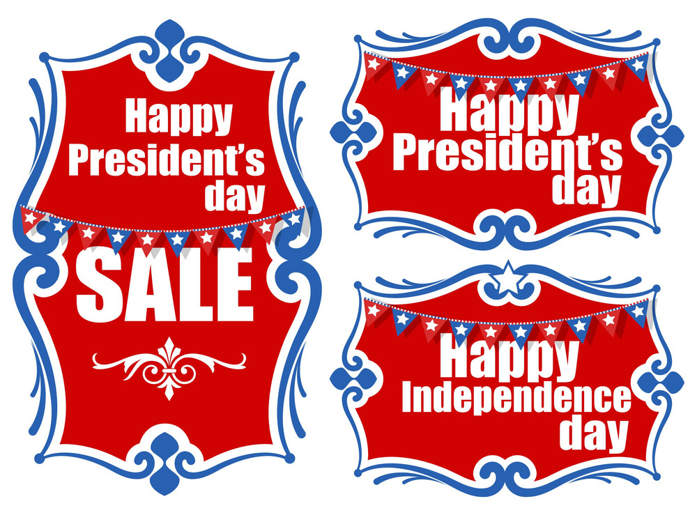 United States National Holidays  Presidents Day  Independence Day Vector Set