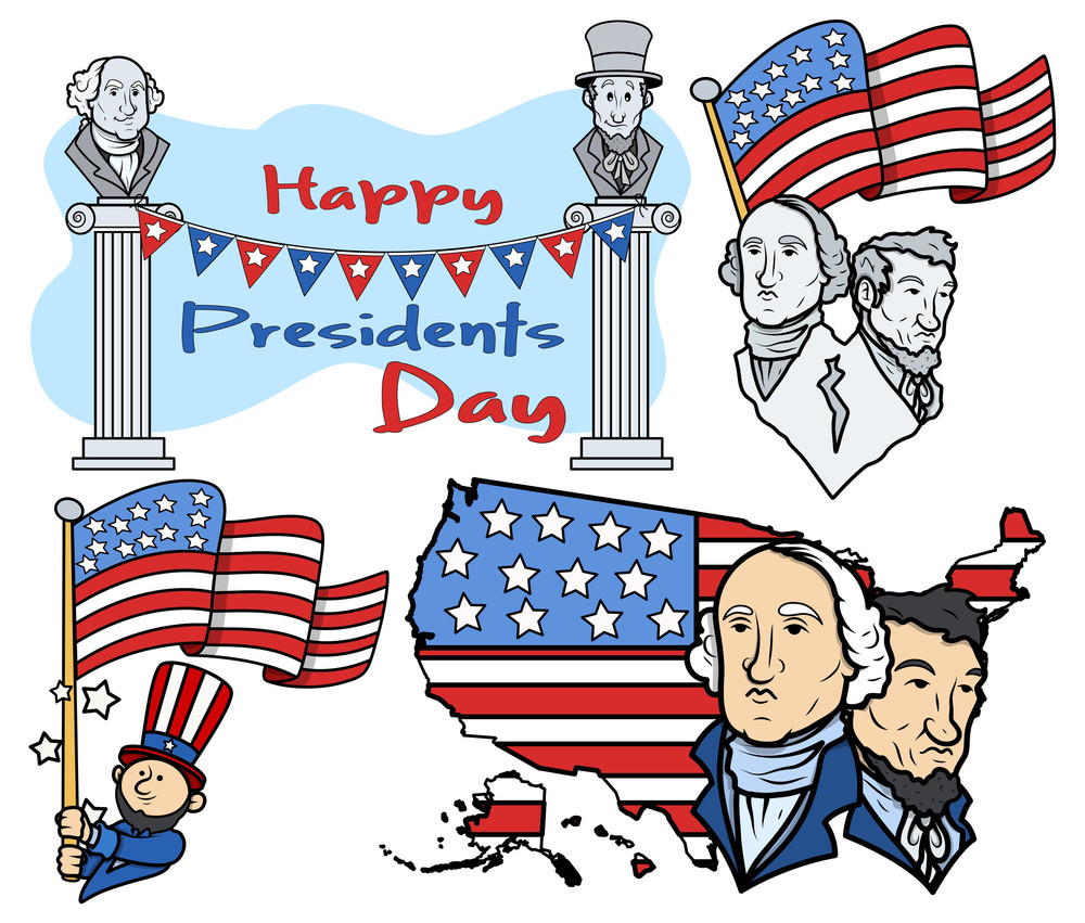 United States National Holidays Presidents Day Vector Set