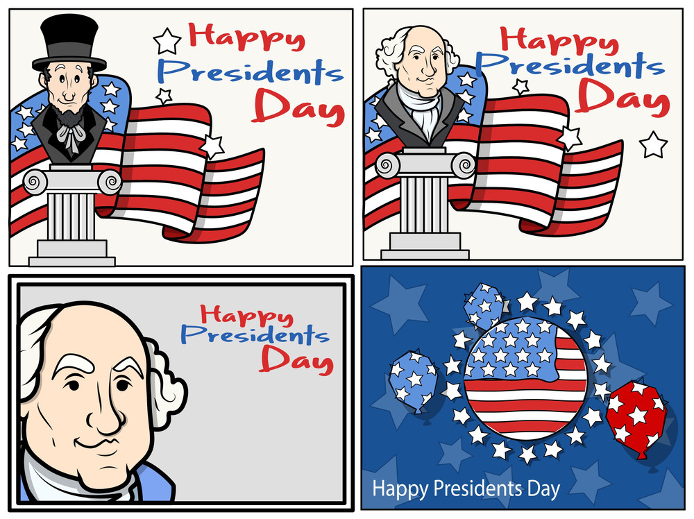 United States National Holidays Presidents Day Washington Birthday Vector Set